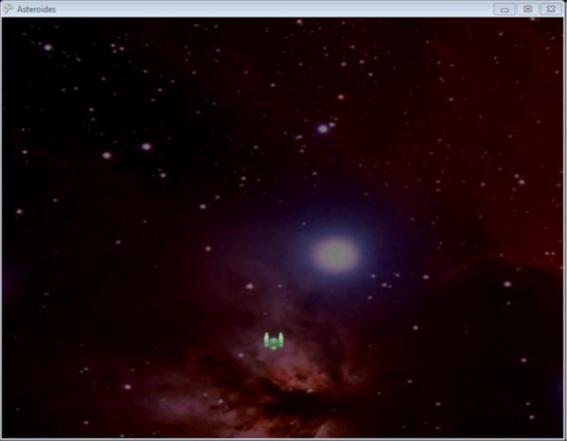 Esse é o seu jogo neste momento. A nave passeia tranquilamente no espaço sideral.