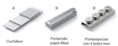 cuchillero especiero portarrollo cubertero cocina film aluminio