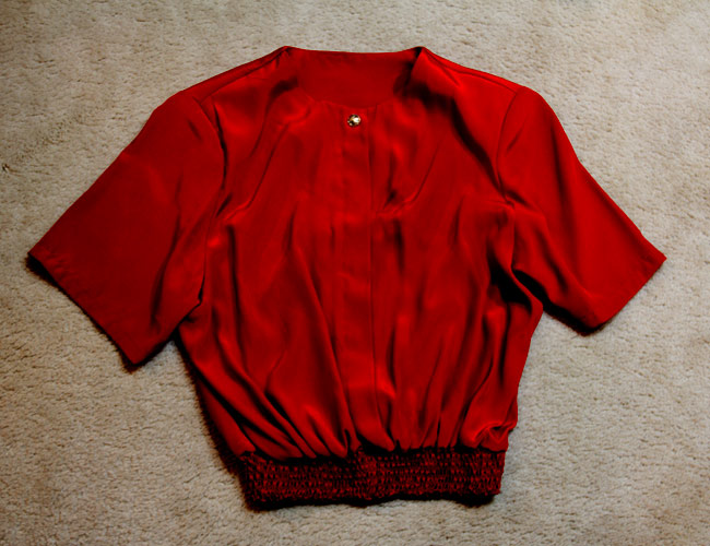 Vintage red shirt, red crop shirt, Talize find