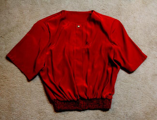 Vintage red shirt, red crop shirt, Talize find