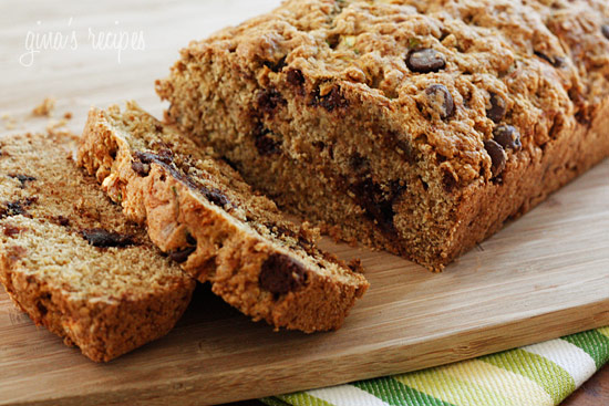 Low Fat Chocolate Chip Zucchini Bread and more recipes for healthy chocolate zucchini bread on MyNaturalFamily.com #zucchini #chocolate #bread #recipe