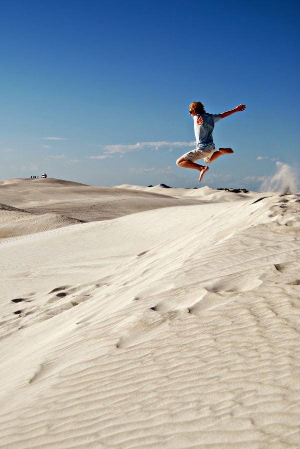 Sand dune jumping at Lancelin Australia