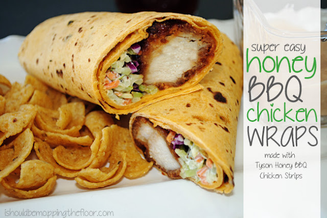 Super Easy Honey BBQ Chicken Wraps with BBQ Dijon Dipping Sauce made with Tyson Honey BBQ Chicken Strips {includes printable recipe card}  #MealsTogether