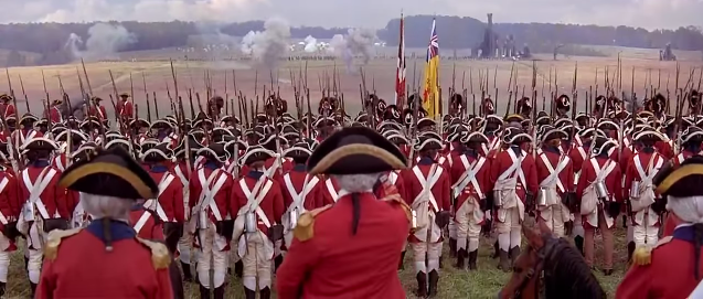 British preparing for battle vs. Americans in Revolutionary War