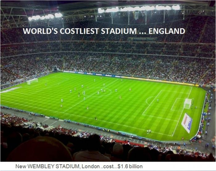 New Wembley Stadium in London is the world's costliest stadium. It cost $1.6 billion., world records, costliest stadium