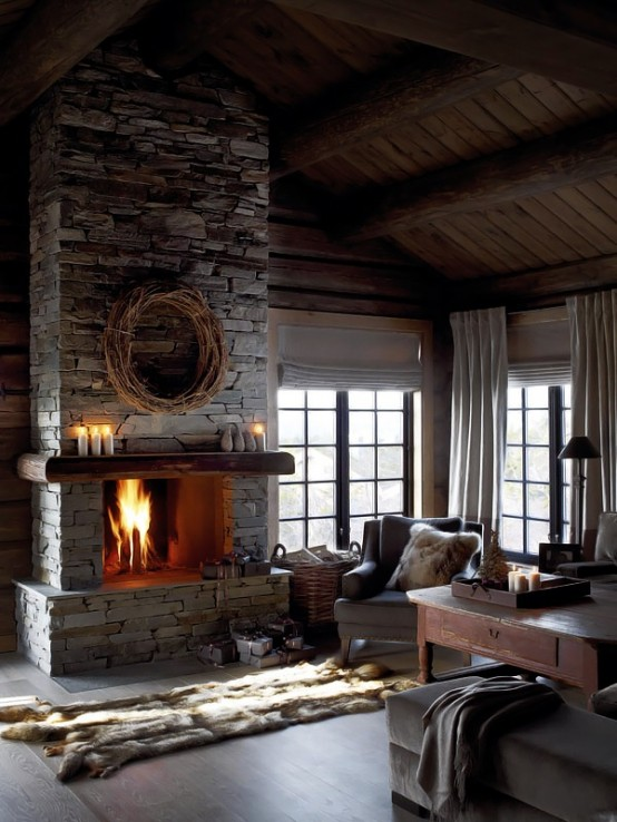 Rustic Stacked Stone Fireplace