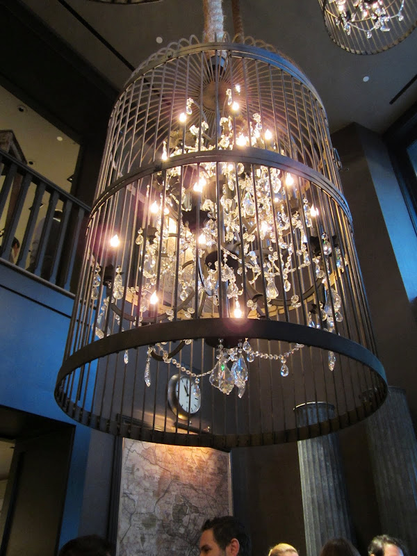 Close up of a birdcage chandelier