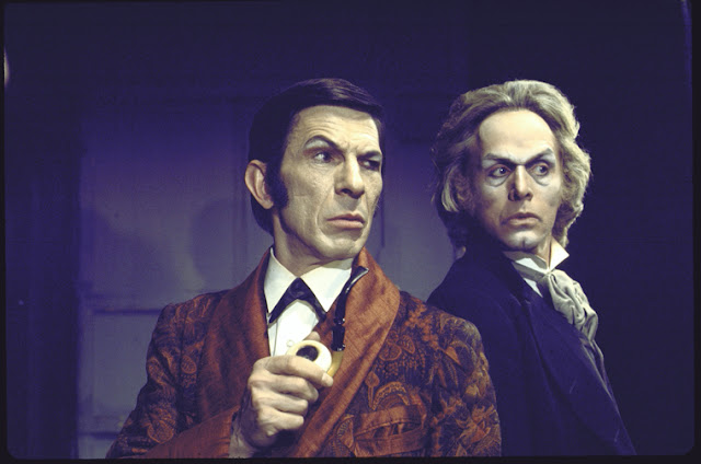 "Leonard Nimoy as Sherlock Holmes and Alan Sues as Moriarty in William Gillette's ""Sherlock Holmes"""