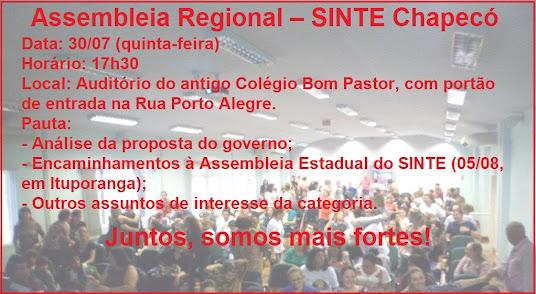 Assembleia Regional do SINTE de Chapecó - 30/07
