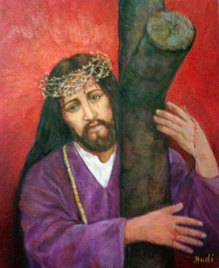 Retrato Cristo Nazareno pintado al óleo por pintora Rudi.