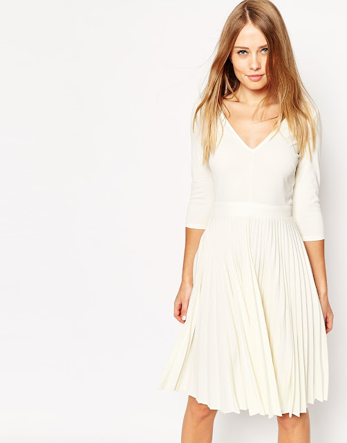white pleated dress, white v-neck dress,