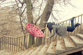 upadek, kobieta, schody, spadanie, parasol