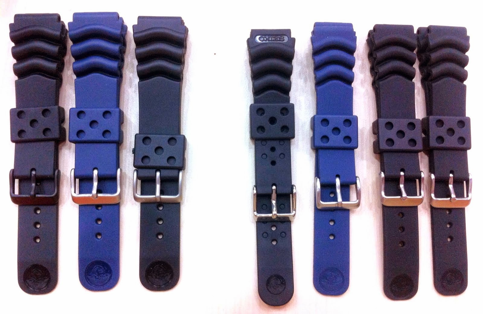 Original Rubber BLUE & BLACK, 22mm & 20mm