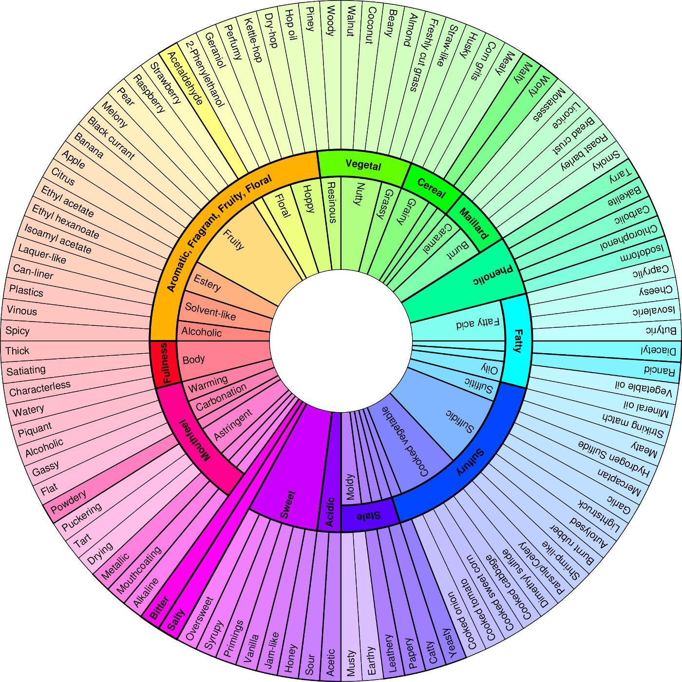 Mark dredge beer a new beer flavour wheel for Food wheel template