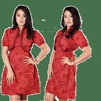 Gaun batik merah untuk ramaja