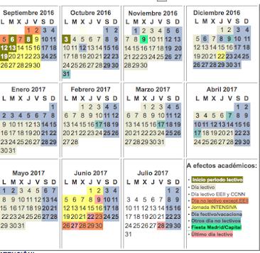 CALENDARIO DEL CURSO 2016-2017