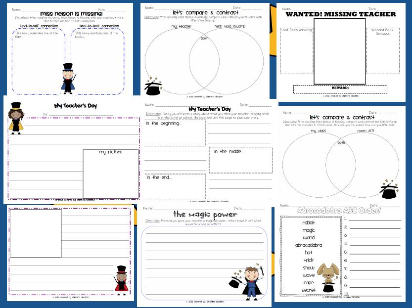 My Teacher Is Missing Sub Plan Pack freebie Miss DeCarbo – Miss Nelson is Missing Worksheets