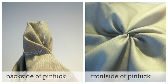 close of pintucked duvet