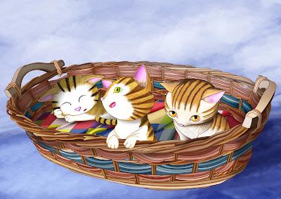gatitos en la cesta