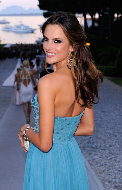 Hot Victoria Secret Model Alessandra Ambrosio In Sexy Blue Dress Pictures