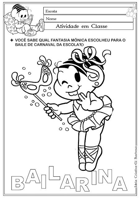 Atividade Turma da Mônica Temática Carnaval