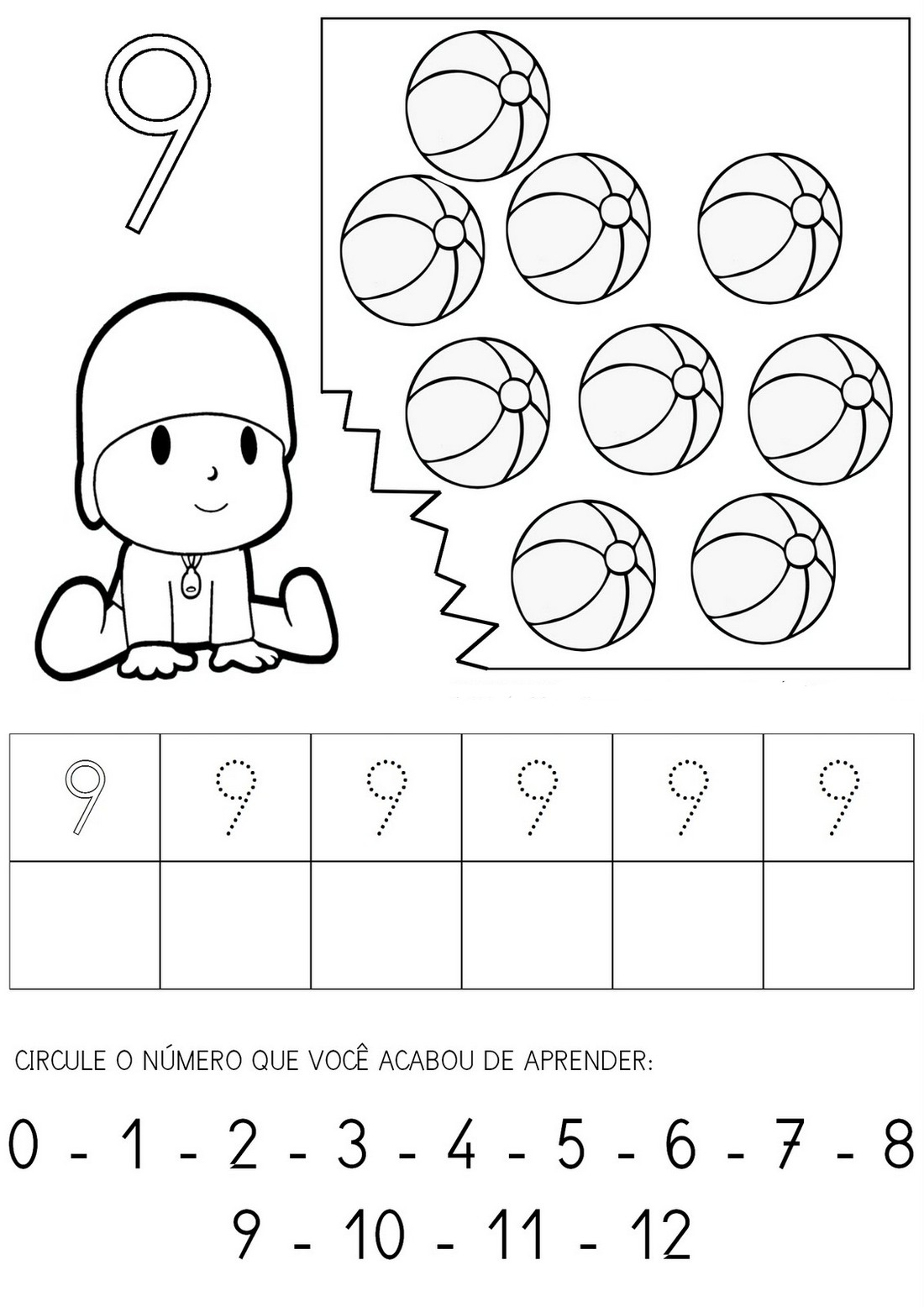 NUMEROS 1 A 10 COBRIR COLORIR ATIVIDADES 9