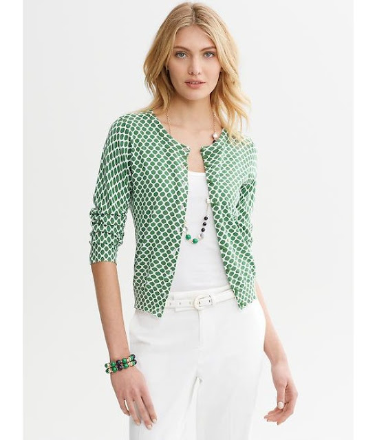 30% Off Banana Republic Green Print Cardigan — A Modern Mrs.