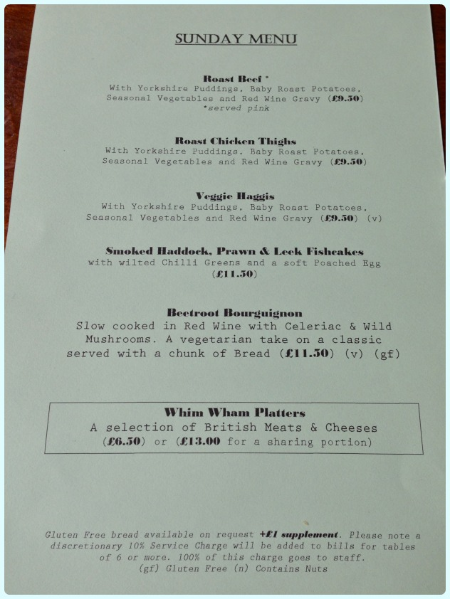 Whim Wham Cafe, Manchester - Sunday Lunch Menu