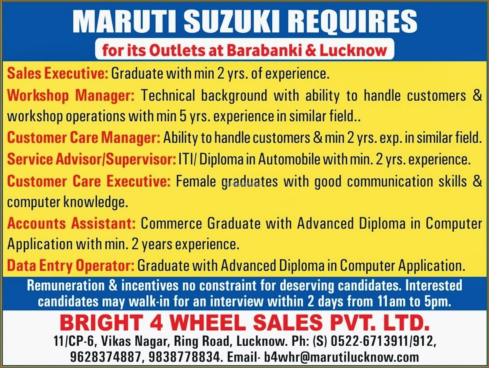 Maruti Suzuki Requires Urgent Vacancies - Gulf Jobs for Malayalees