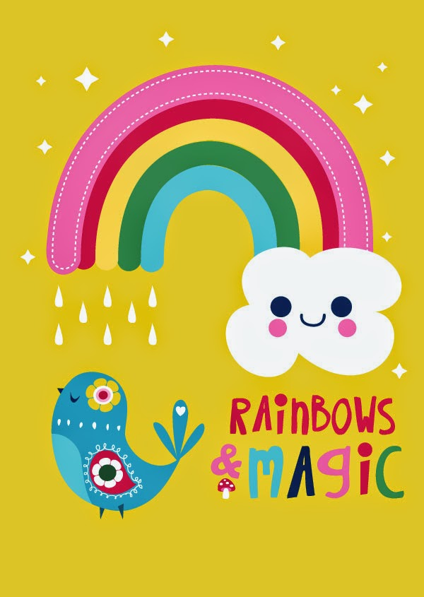 rainbow bird kawaii inspirational illustration