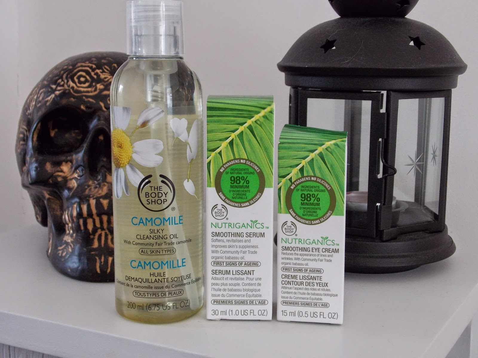 The Body Shop Camomile Silky Cleansing Oil, The Body Shop Nutriganics Smoothing Serum and The Body Shop Smoothing Eye Cream