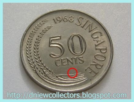 Singapore Coin Picture on Singapore 50 Cents With Die Gouge Errors  Dot    Niewmismatic Error