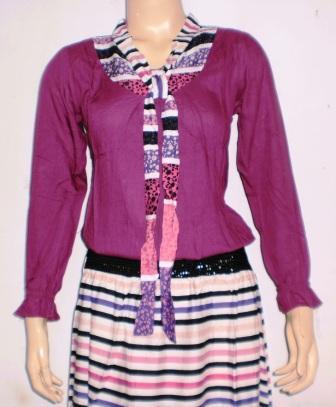 Gamis modern GK0176 yang terbuat dari bahan katun kombinasi polos  Baju Gamis Bahan Katun Polos Terbaru 2014 Online