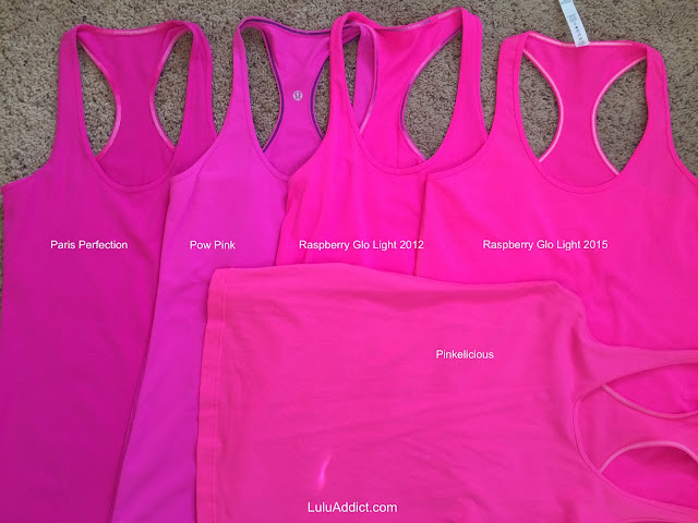 lululemon raspberry-glo-light-cool-racerback pinkelicious-pow-paris-perfection