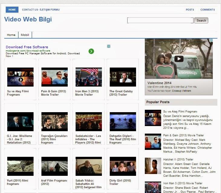 Web Bilgi Blogger Template dành cho trang chia sẻ Video