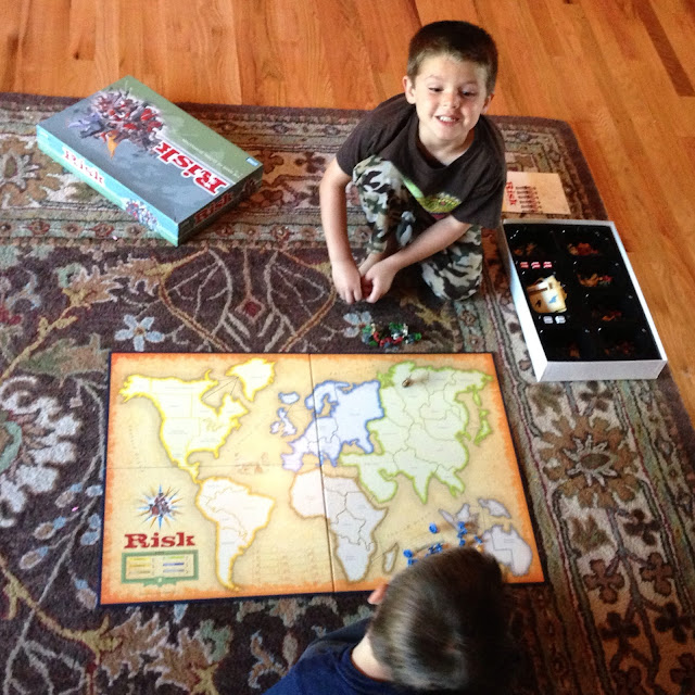 Family Game Night of Risk with the Boys