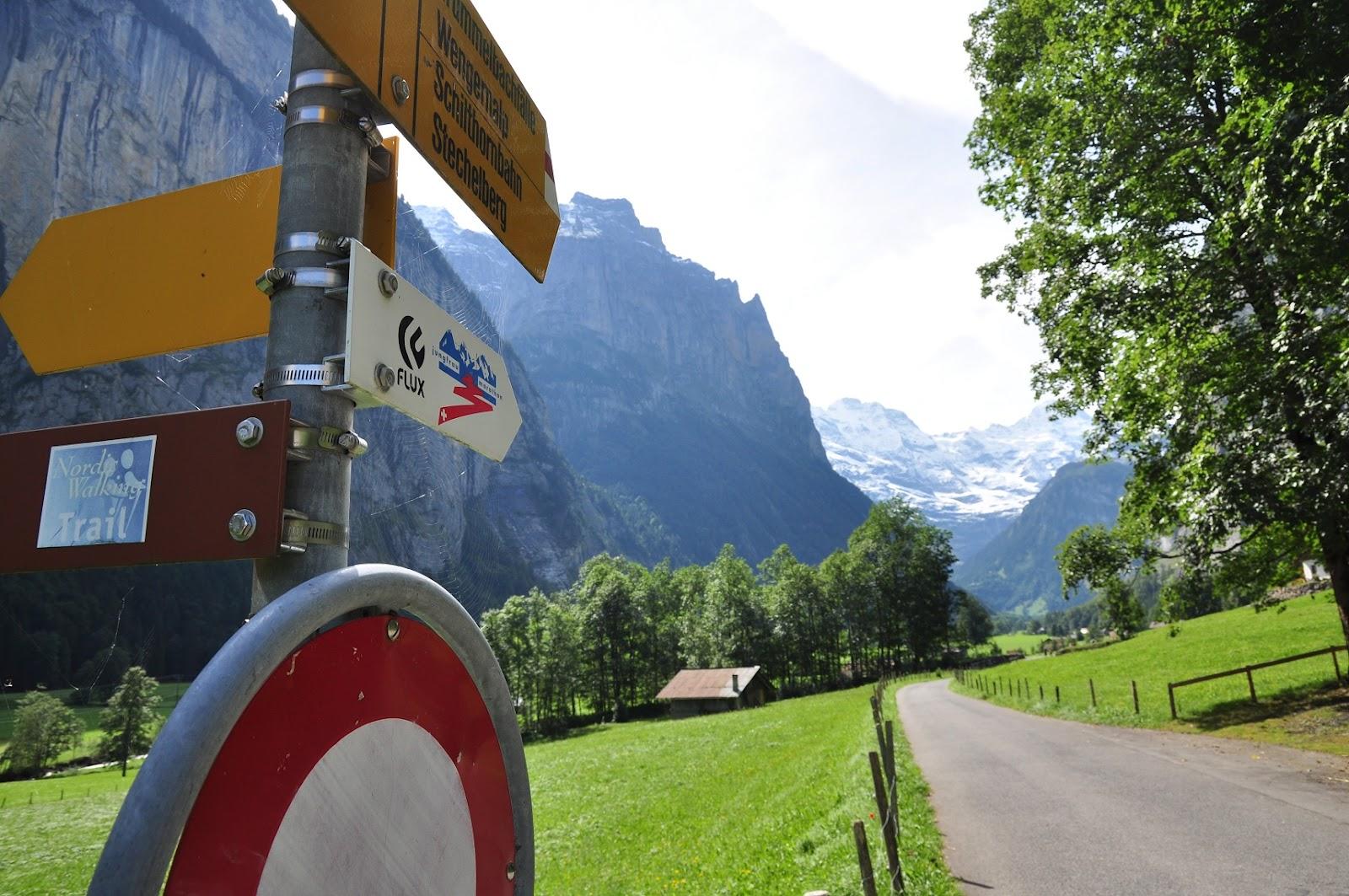 Permanent Marker Along The Flat Part Of Route Through Lauterbrunnen