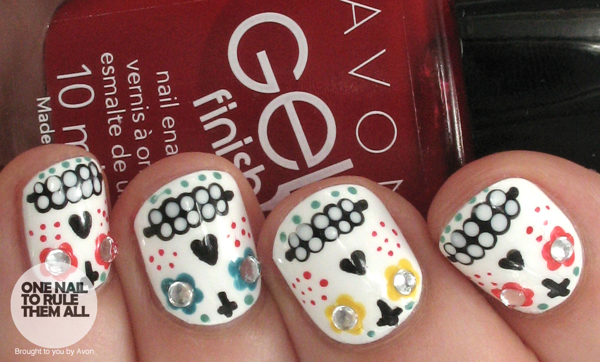 One nail to rule them all sugar skulls nail art for avon these sugar skull nails with you nevertheless if people are still sharing what they dressed as for halloween i dont see why i cant still showcase prinsesfo Image collections