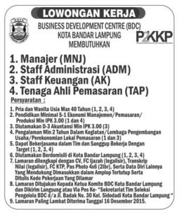 REKRUTMEN Business Development Centre (BDC) Kota Bandar Lampung