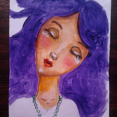 purple hair whimsy girl with green eyes by Cristina Love on 4thelovers.blogspot.com/
