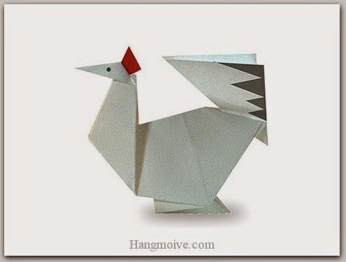 Cách gấp, xếp con gà mái bằng giấy origami - Video hướng dẫn xếp hình Động vật - How to fold a chicken