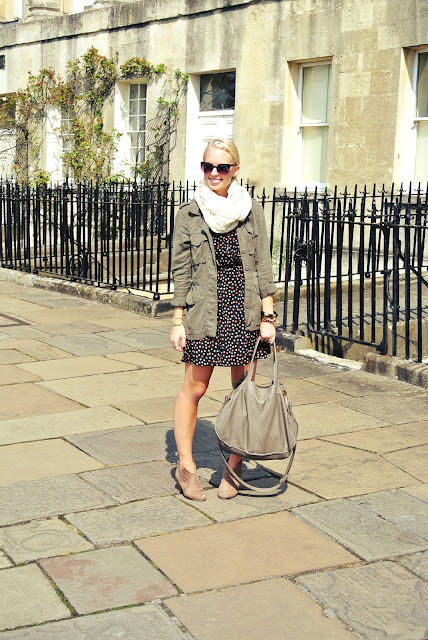 Forever 21 dot dress, scarf, Charlotte Russe safari jacket, Charlotte Russe booties, Big Buddha bag, Bath, England, Royal Crescent, fall fashion, style blogger