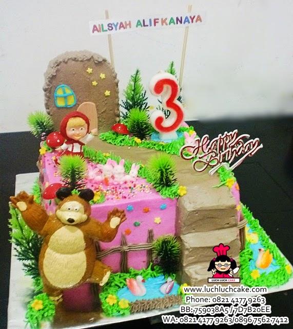 Kue Tart Masha and The Bear Pink Daerah Surabaya - Sidoarjo