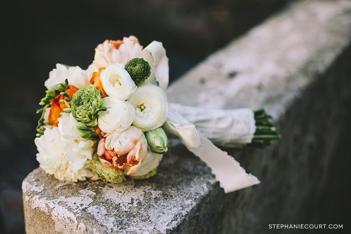 """orange green ivory bridal bouquet"""