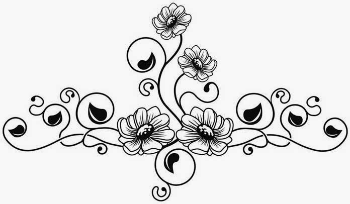 Daisies and vine tattoo stencil