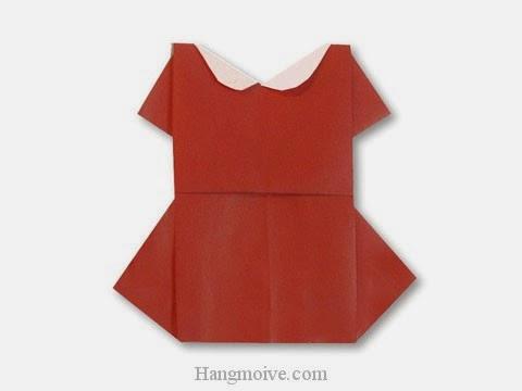 Cách gấp, xếp váy đầm đi chơi bằng giấy origami - Video hướng dẫn xếp hình quần áo - How to fold a One Piece Dress