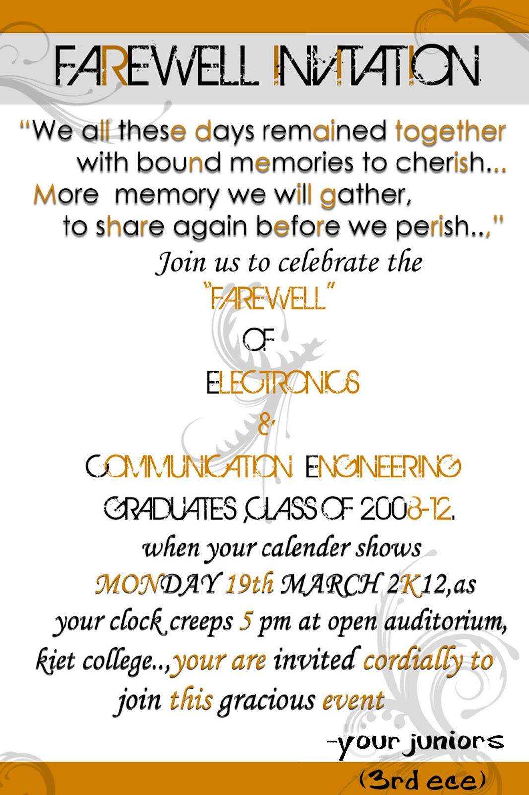 Farewell Invitation For Students with awesome invitations layout