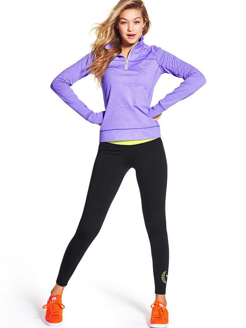Gigi Hadid wears active wear for the Victoria's Secret March 2015 Lookbook