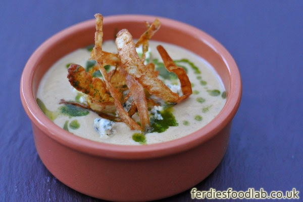 cauliflower soup w/ gorgonzola, basil oil & parsnip crisps