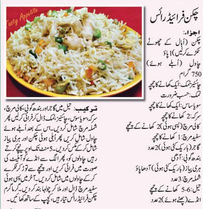 Recipes in Urdu: Chicken Fried Rice Recipe In Urdu